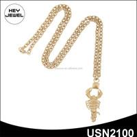 2015 new design matt gold plating long chain pendant scorpion necklace