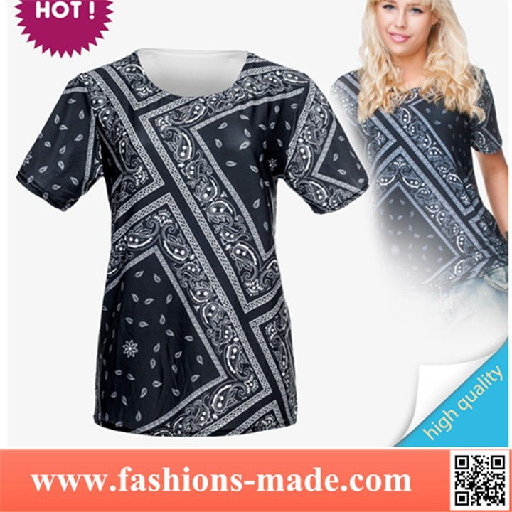 Girls Casual Black Bandana Printed T-Shirts