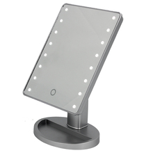 Silver 16 lighted led makeup mirror,AA battries touch sensor stepless dimming cosmetic standing mirror