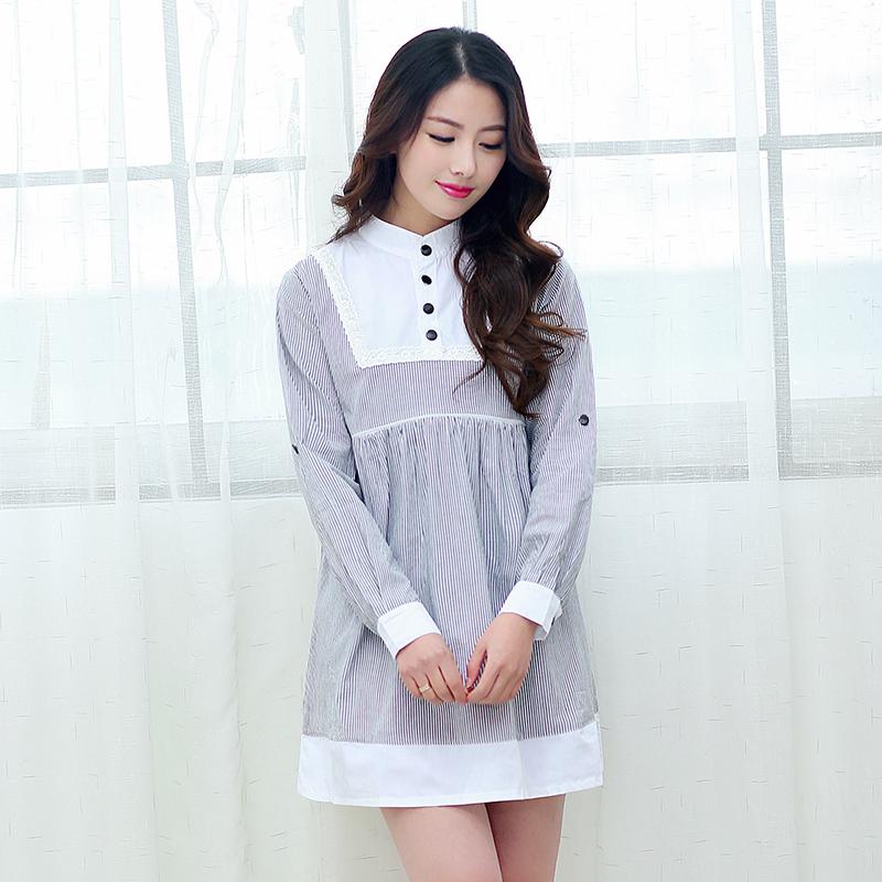 HOT Spring maternity base tops striped splice nursing shirts blouse large size breastfeeding Mid length base