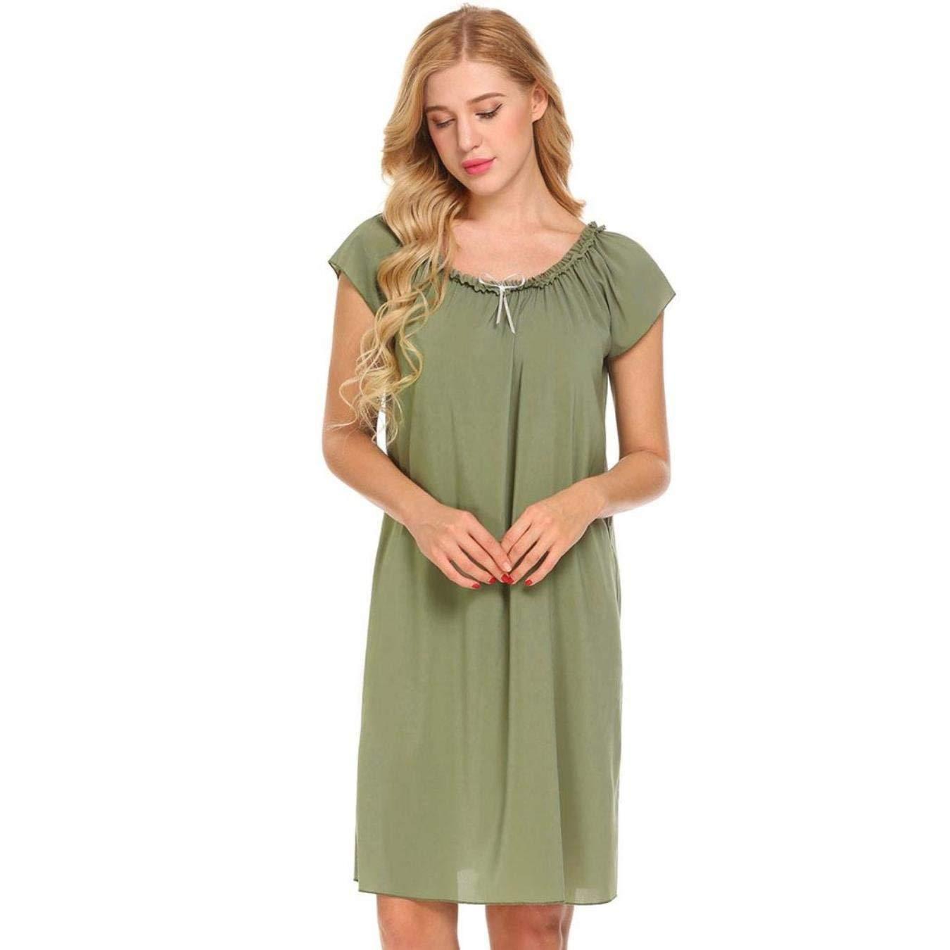 5fb8e3e8a9 NCOEM Casual Women Short Sleeve Sleepwear Ruffles Lounge Sleep Dress Solid  Loose Chiffon Nightgown Female Nightwear