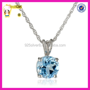 Beautiful sterling silver 8mm round blue zircon pendant necklace with light rope chain necklace