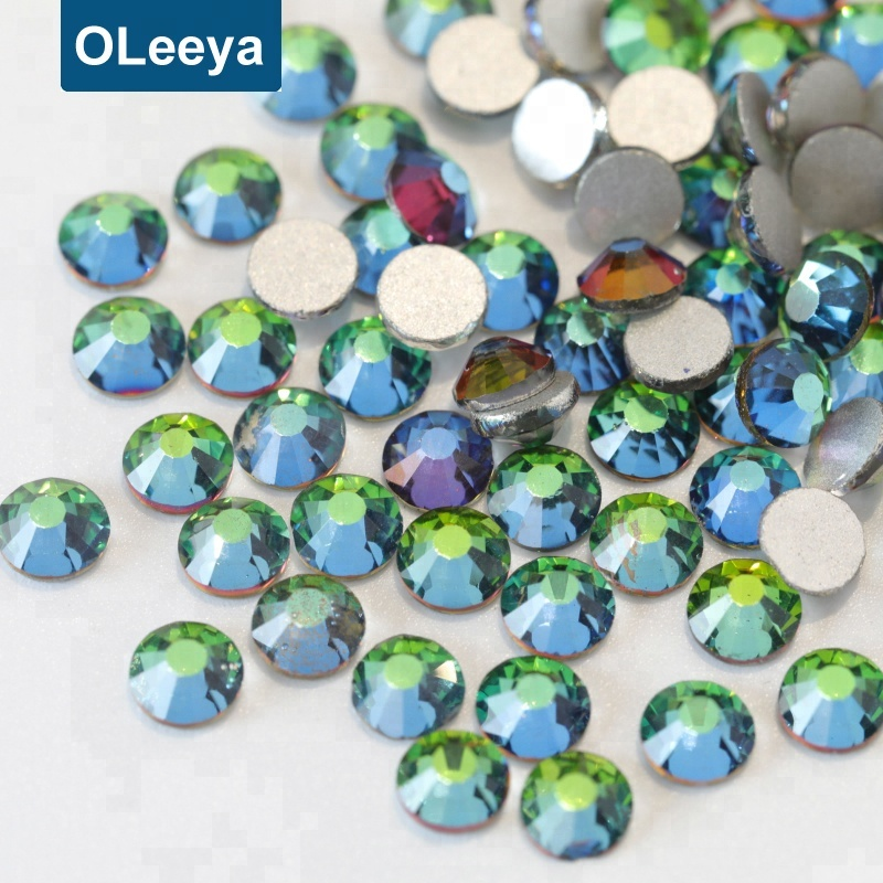 Over 80 Colors Factory Price Green Volcano Flatback Non Hot Fix Strass Crystal Nail Rhinestones