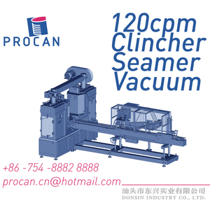 Rctangular Tin Can Vacuum Seamer - Linear Clincher Twin Seaming Head - Corned Beef Canning Machine