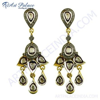 Indian Traditional Diamond Gold Plated Silver Earrings,925 Sterling Silver  Victorian Jewelry - Buy Indian Traditional Diamond Gold Plated Silver