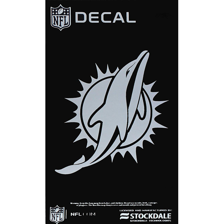 """Miami Dolphins NFL Team Logo Metallic Silver Chrome Auto Tumbler Decal 3"""" x 5"""""""
