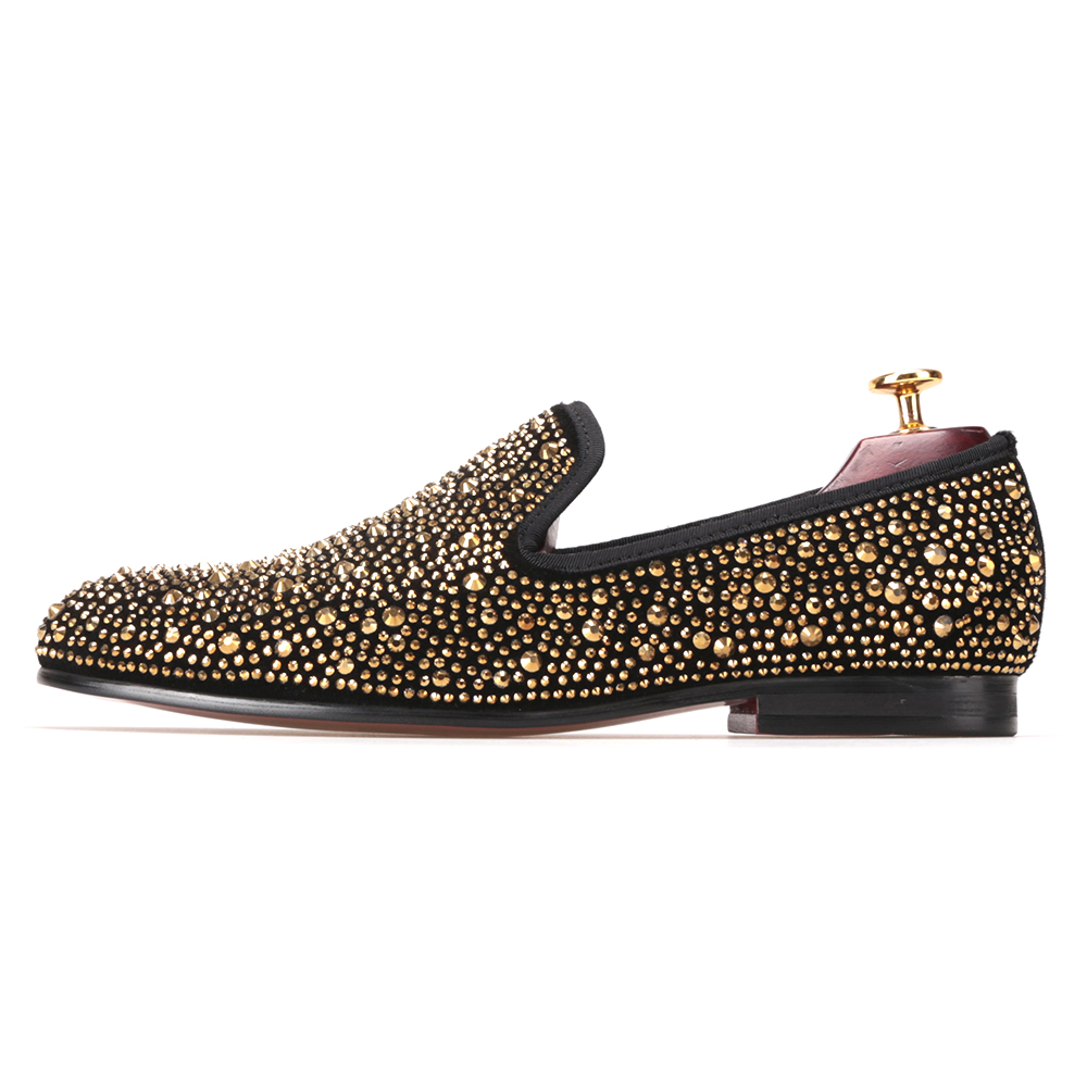 Suede on Crystals Slip Men's Evening Luxury Shoes Gold Crafted Party g06X6x8