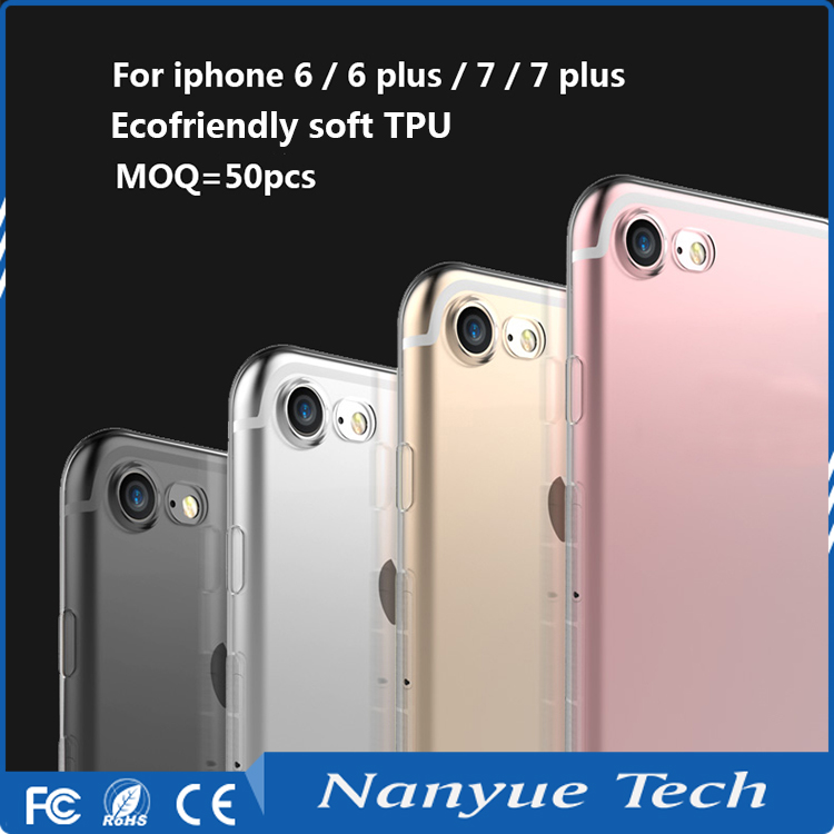 Factory price MOQ=50pcs free sample slim crystal clear soft TPU phone case for iphone 6s/6s plus/7/7 plus