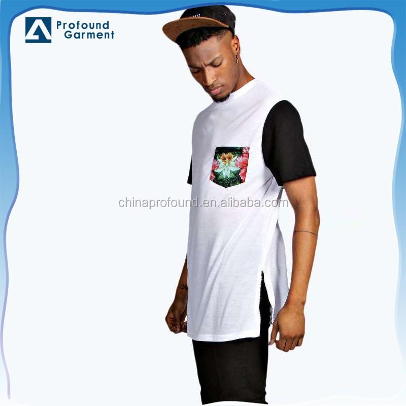 Custom Two Tone Floral Chest Pocket Longline Side Zipper T Shirt ...