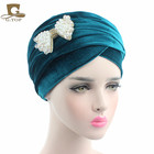 NEW luxury long velour Turban hijab Head Wrap Extra Long tube Scarf Tie with the beaded bow brooch