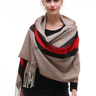 Women winter woven striped shawl warm poncho scarfs for women stylish