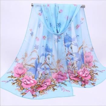 100% Digital Print Soft Silk Chiffon Shawl And Scarf