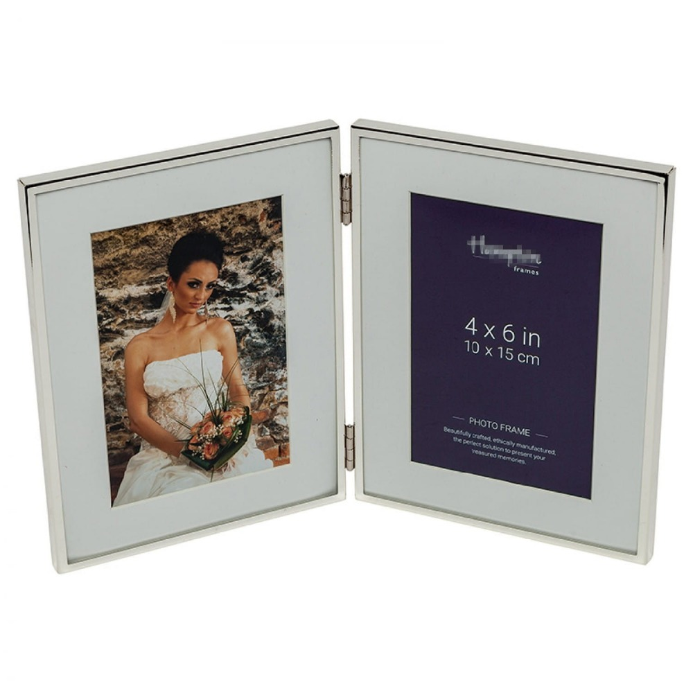 Double hinged stainless steel silver plated picture frames photo frame