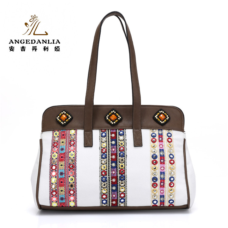2017 New <strong>Designer</strong> Handmade Embroidered fair trade tote bags linen handbag for ladies