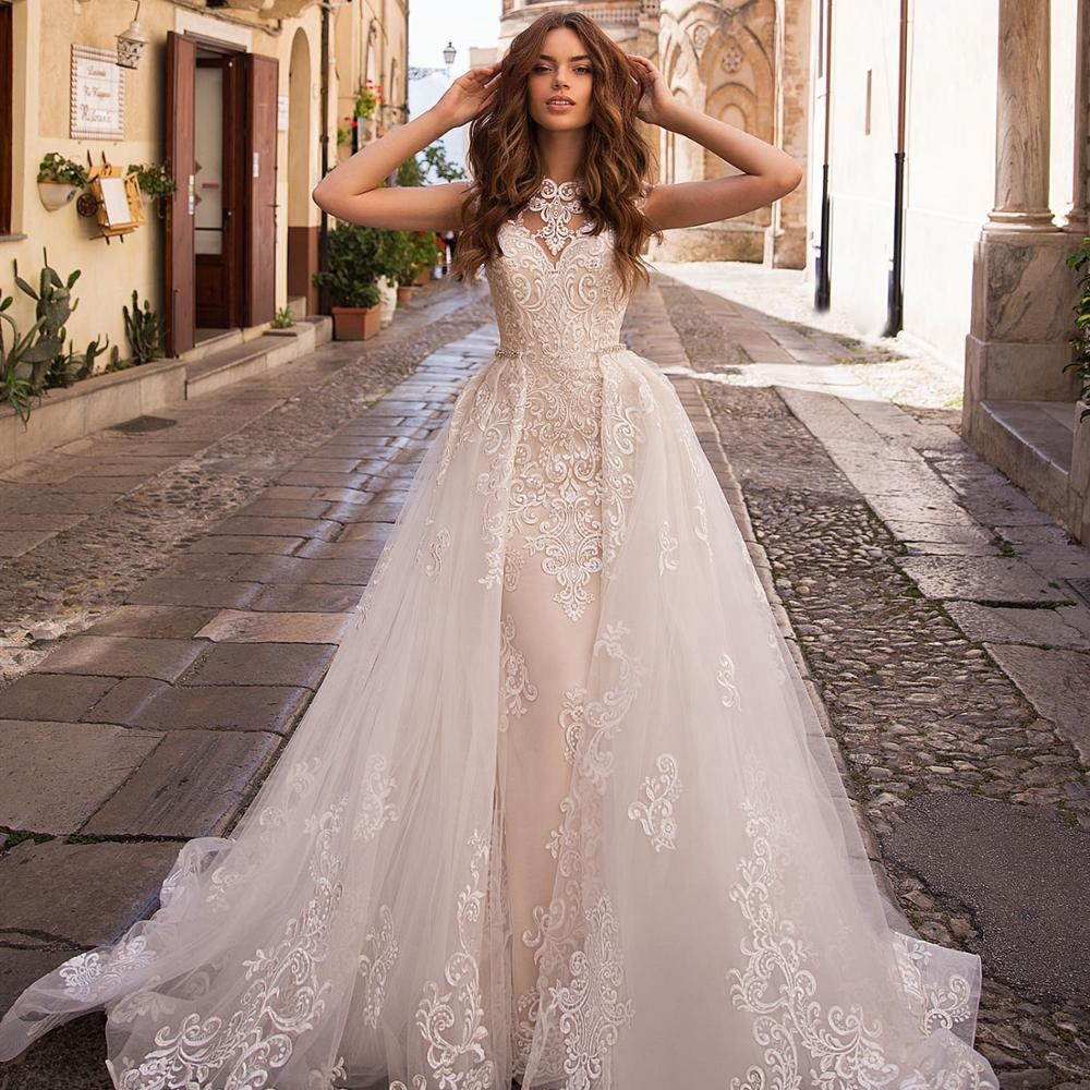 Wedding Dress Bridal Gown With Detachable Overskirt Mermaid V Neck