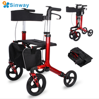Four wheel aluminum alloy lightweight Foldable Rollator walker and economic walker with seat basket