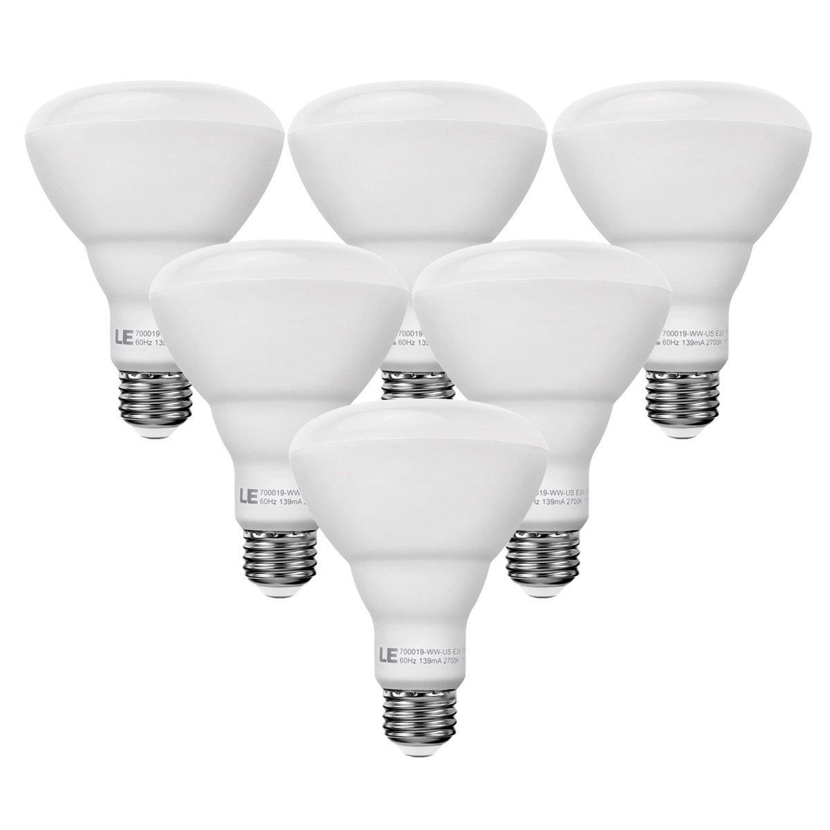 LE 6 Pack Dimmable BR30 E26 LED Bulbs, 75W Incandescent Equivalent, 15W, LED Recessed Can Lights, 1100lm, Warm White, 2700K, 110° Flood Beam, E26 Base, LED Light Bulbs, LED Flood Light Bulb