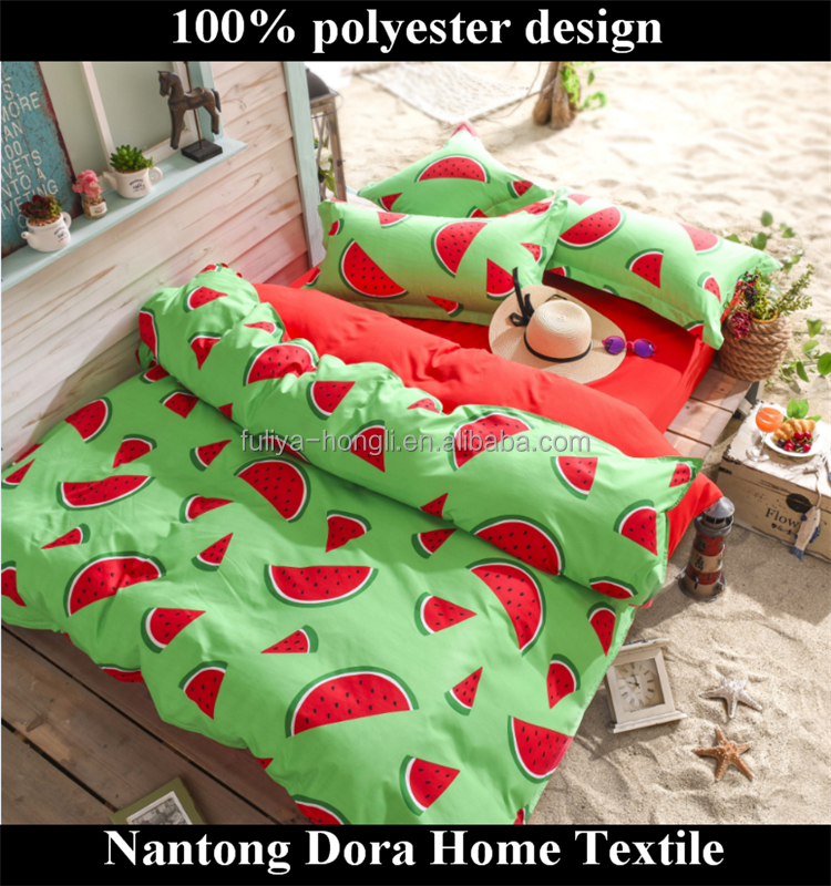 sweet watermelon polyester comforter sets red printing reactive pattern brand name bed sheets