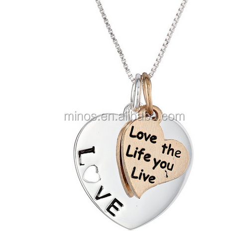 Italian Cheap Women Two-Tone Silver with Yellow Gold Flashed Love The Life You Live Double Heart Pendant Necklace