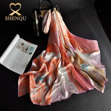 Wonderful fabric quality reasonable price women digital print long large japanese silk scarf