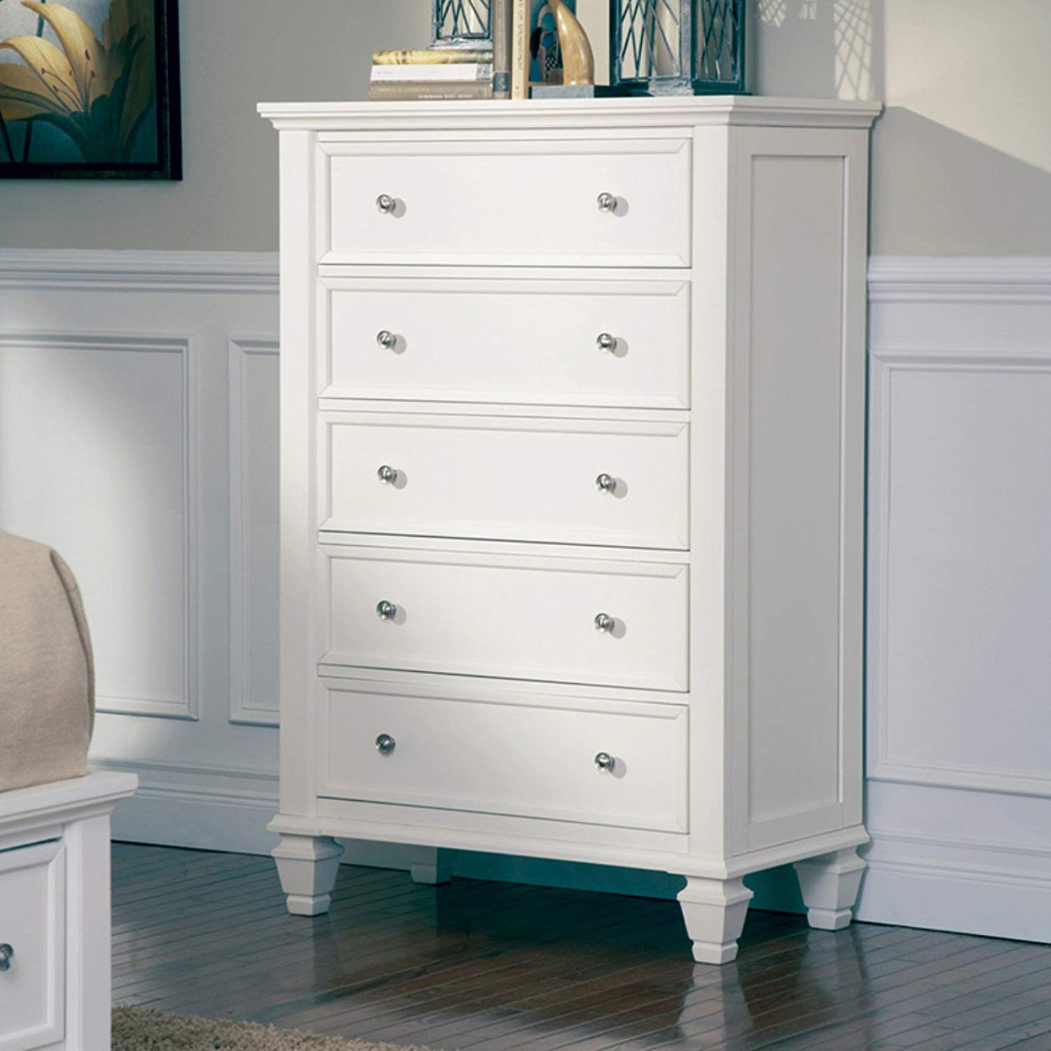 5 Drawer Chest, Sturdy and Durable, English Front and Back dt Drawer Construction, Silver Finish Knobs and Handles, Made of Asian Hardwood, Asian Tropical Wood, MDF, White + Expert Guide