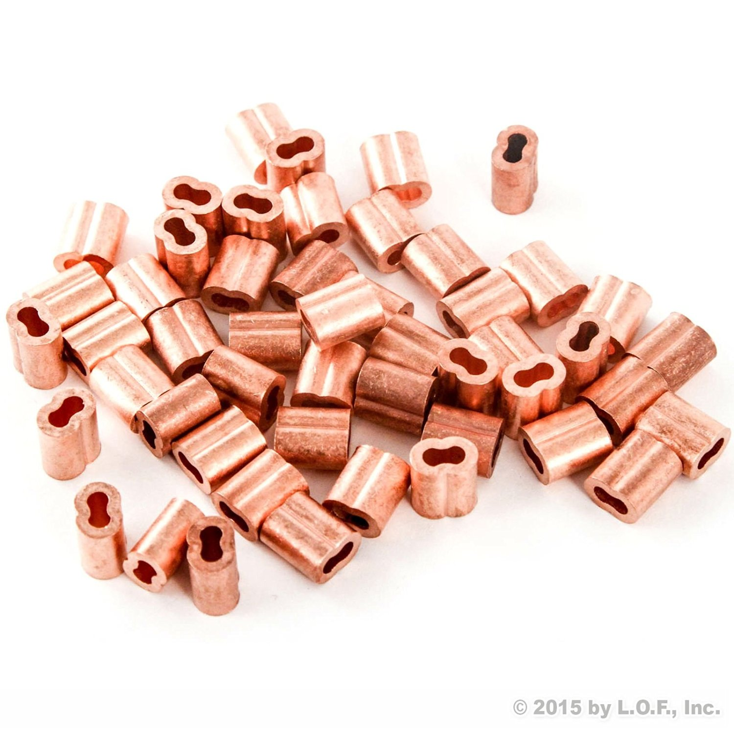 """1/8"""" Copper Wire Rope and Cable Line End Double Barrel Ferrule - Qty 50"""