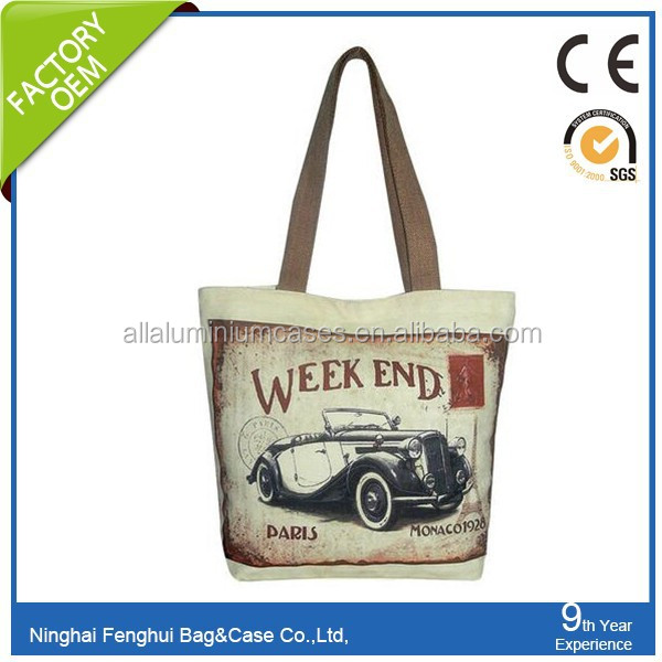 global certificated quality printed standard size canvas cotton carry bag