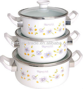 Enamelware Casserole 3pcs Cooking Pot Set with Glass cover