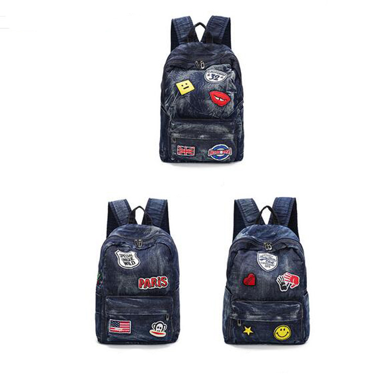 personality Multi character embroidery wash denim girls college backpack bag