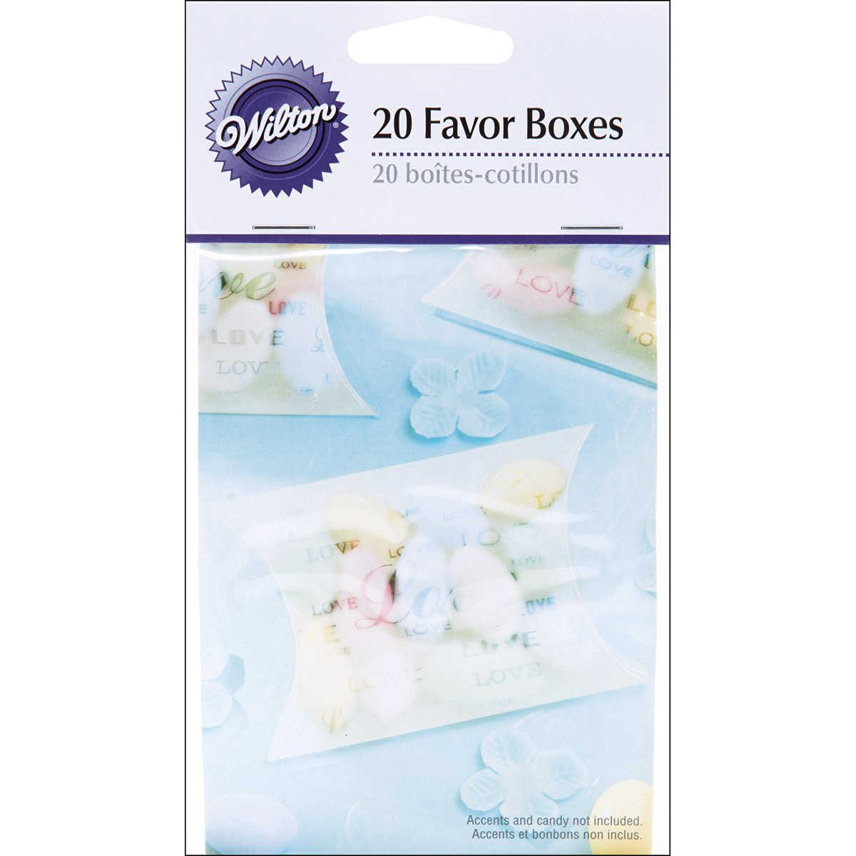 Wilton Love Pillow Boxes Embellishment, 2.75-Inch x 3.5-Inch, White, 20-Pack