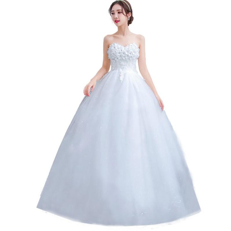 9c8207cfe 2019 Coreano Vestidos De Novia flor off ombro corset plus size brudklanning  nupcial do vestido de