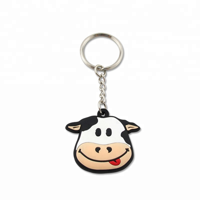 Portable With Sound Cow Shape LED Key Chain Key Ring Flashlight Kids Toy