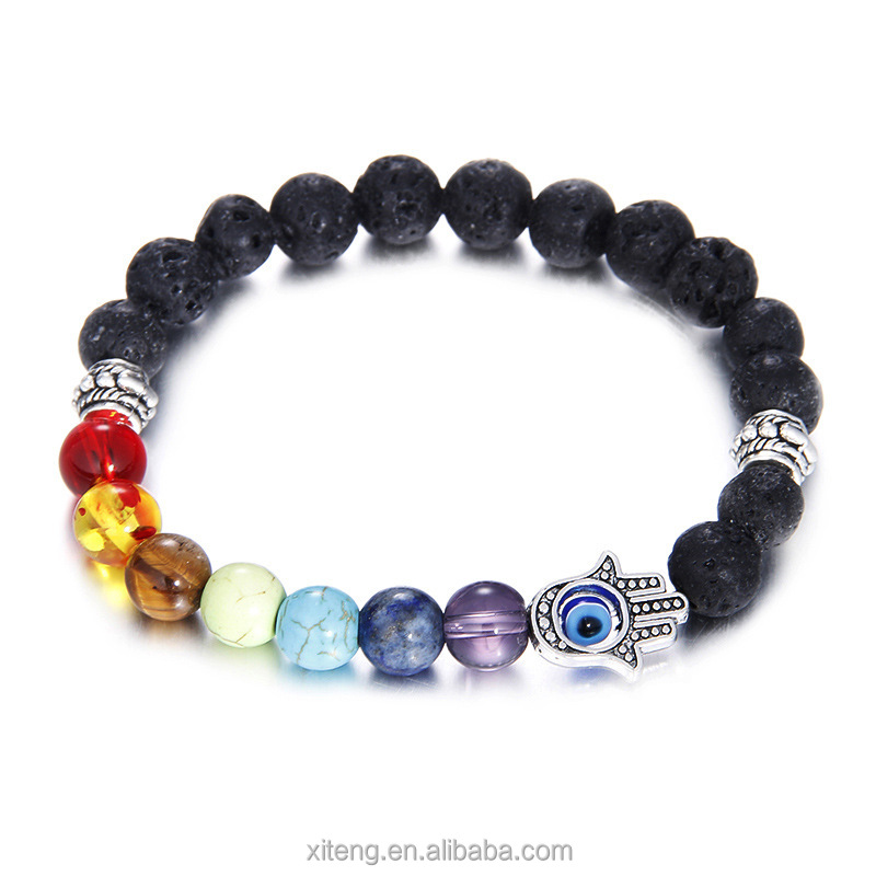 Fashion Jewelry 7 Chakra Buddh Healing Pray Charm Male 8mm Hamsa Hand Lava Stone Bead Bracelet, Available in many colors;you pick up the color