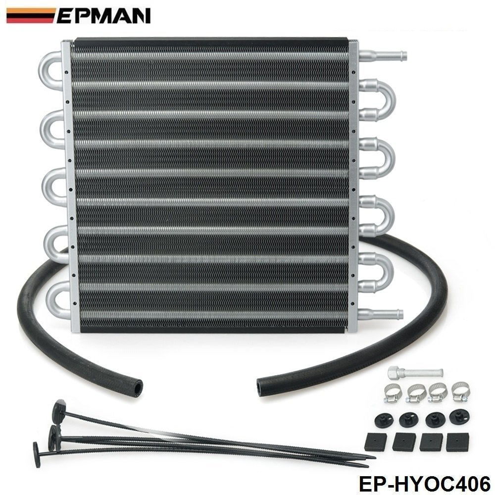 Get Quotations · EPMAN 10 Row Aluminum Remote Transmission Oil Cooler/Auto-Manual  Radiator Converter Kit (