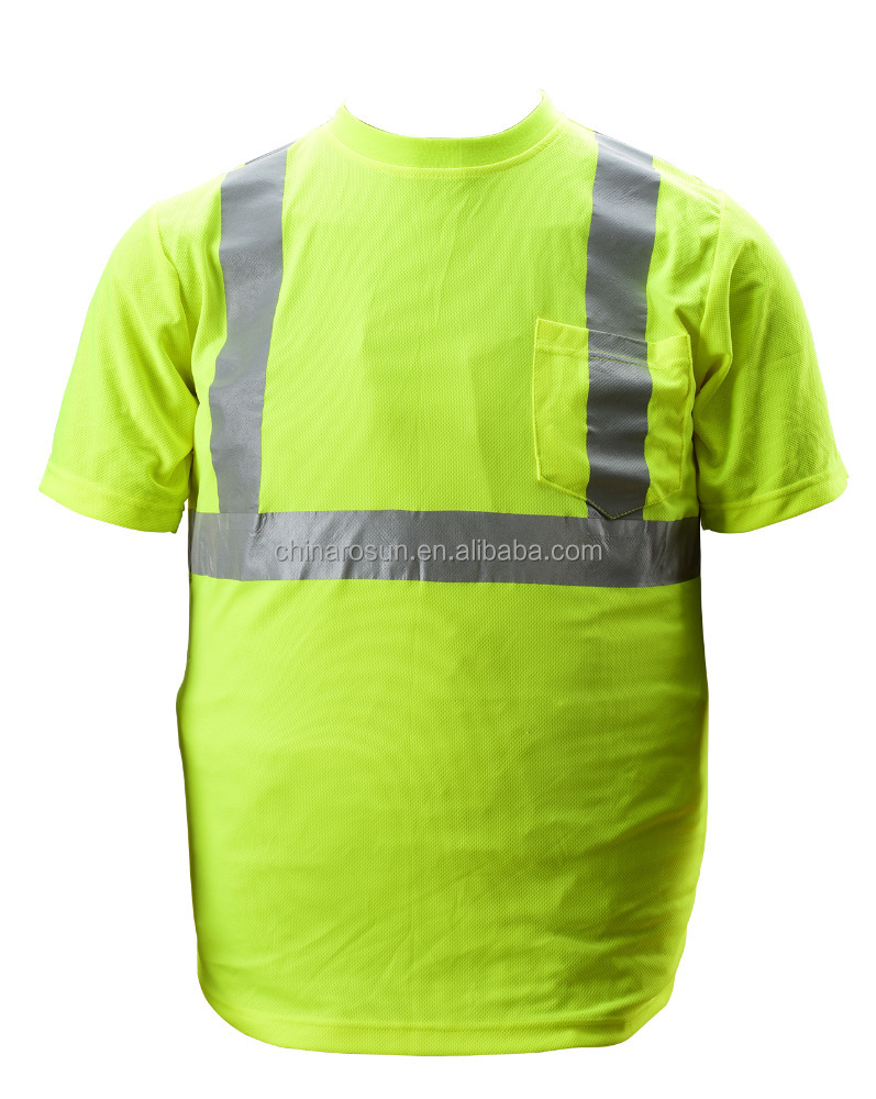 fast dry breathable hivis safety T-shirt with pocket extreme moisture wicking birdeyes material cycling railroad