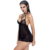 Hot Sale Cheap Ladies Transparent Sexy Black Short Harness Babydoll Dress