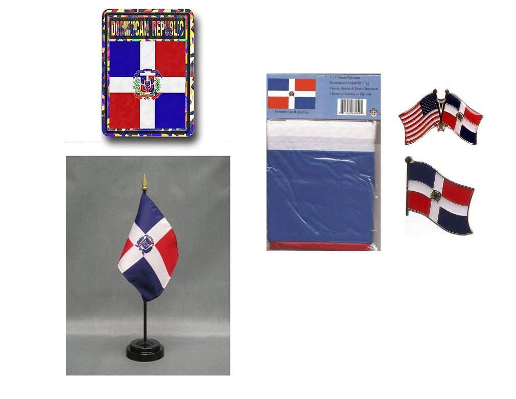 """Wholesale Combo Set Virgin Islands Country 3x5 3'x5' Flag and 3/""""x4/"""" Decal"""