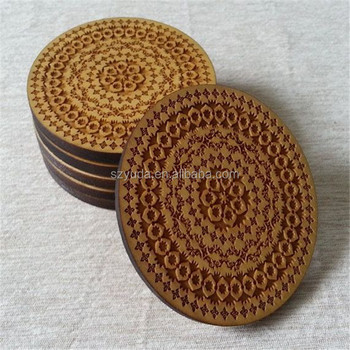 Custom Cork Backed Coaster Laser Cut Wood Coasters Round Wood Tablemat  Placemat With Different Design And Size - Buy Cork Backed Coaster Laser Cut