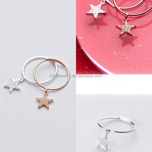 IN STOCK!!! fashion cz rings thailand star pendant ring 925 sterling silver rings with zircon for party
