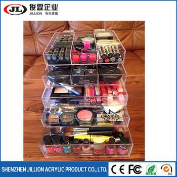 Acrylic Large Beauty Cube 5 Tier Drawers Acrylic Cosmetic organizer Handmade Multi function Makeup Organizer Storage