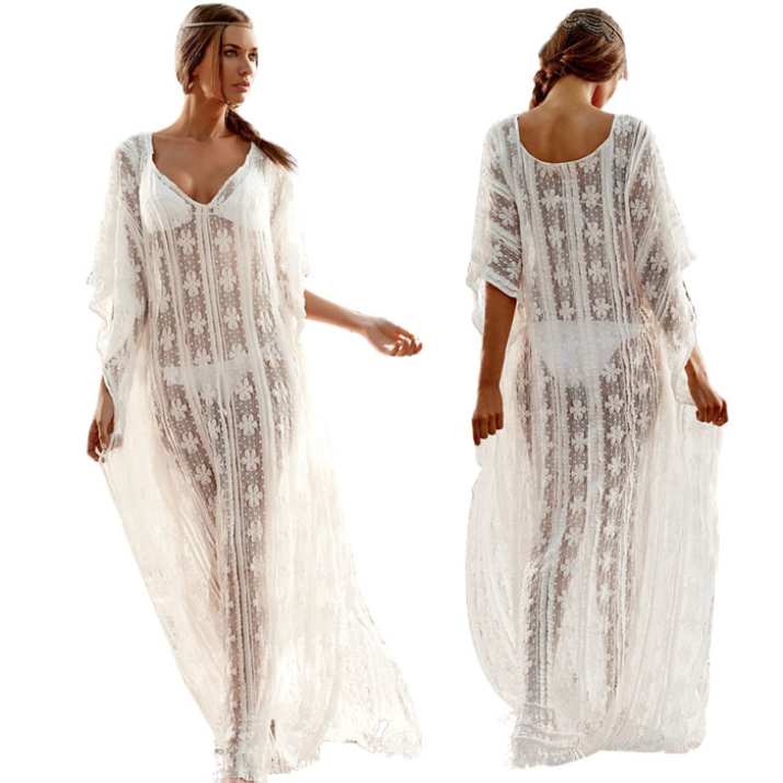 58a098967 Get Quotations · Brand new 2015 Women Sexy Lace Loose Maxi Dress Long Beach  Bikini Cover Ups Dress for