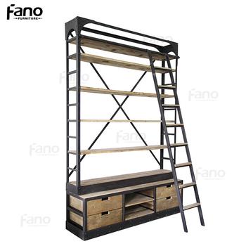 Antique Furniture Vintage Industrial Bookshelf Metal Iron Frame Wood ...