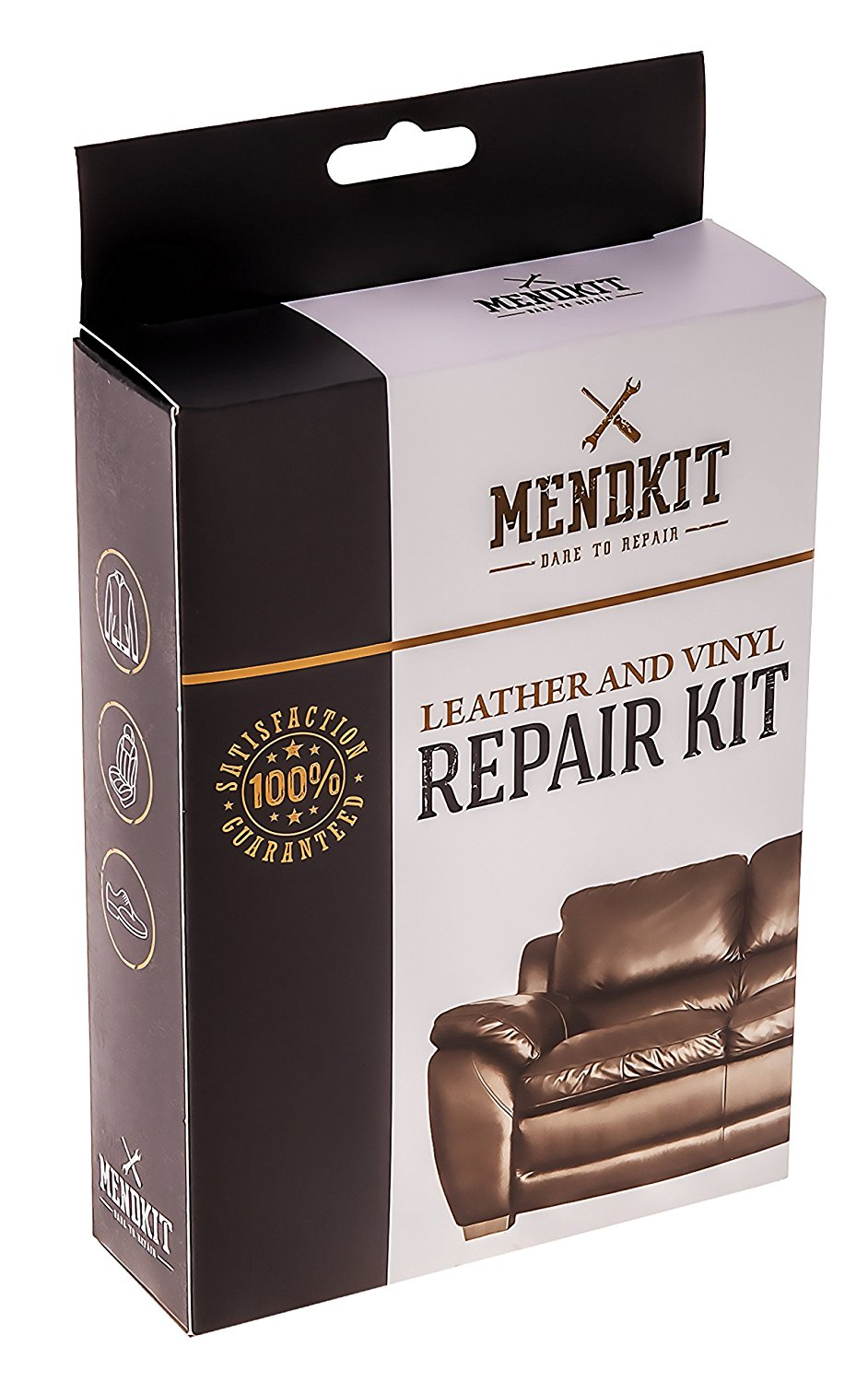 MendKit Leather and Vinyl Repair Kit - Adhesive Putty Filler Glue, Patch Fabric and Tools - Restorer of Scratch Or Crack on Your White Couch, Black Sofa, Brown Jacket, Gray Shoe Or Dark Blue Car Seat