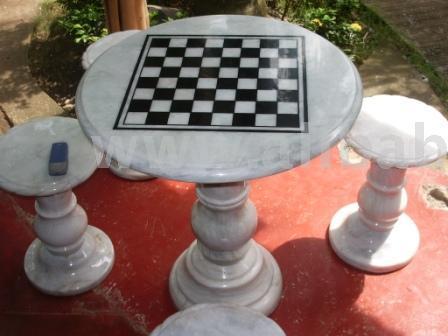 Marble Chess Set (4 Stools, Chess Table And Fugure Set)