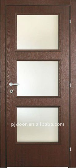 Nuevo vidrio templado puerta de madera yhwf 217 con color for Puertas de madera con cristal modernas