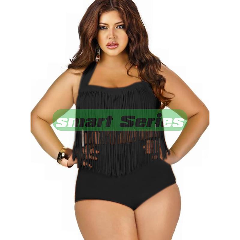 e1f21e974d9bc Get Quotations · 2015 Newest Plus Size Bikini Women Ladies Sexy Push Up  Tassel High Waist Triangl Swimwear Bikini