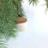 Little hanging craft felt white pinecone with customized size