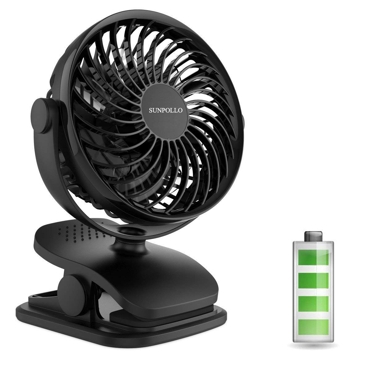 Clip on Fan, Rechargeable Battery Operated or USB Powered, Mini Portable Fan with 4 Speeds, Clip & Desk Fan 2 in 1, Personal Fan for Baby Stroller, Car Seat, Treadmill, Office, Outdoor Camping