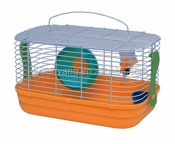 Colourful foldable wire hamster cage with movable plastic toys