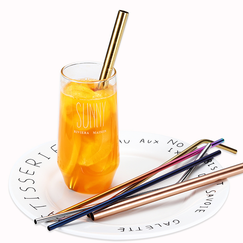 Cathylin Eco Friendly Bent Stainless Steel Drinking Straw For Juice And Milk, 6 colors (as picture shown)